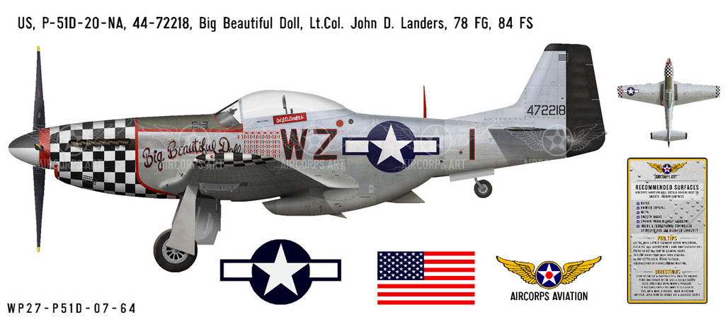 "P-51D Mustang ""Big Beautiful Doll"" Decorative Military Aircraft Profile"