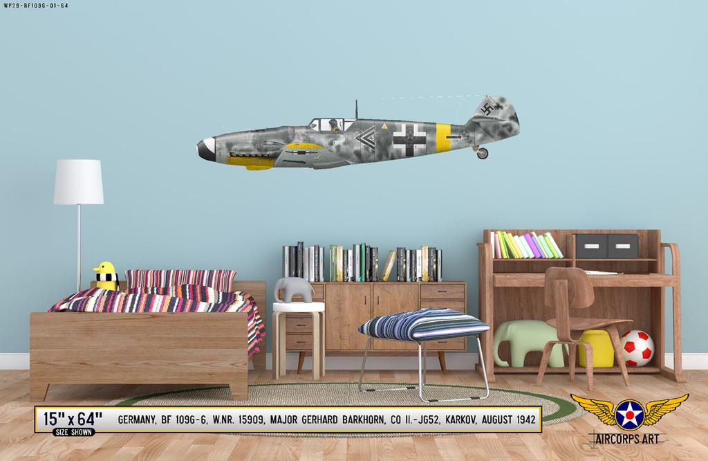 BF 109G-6 Messerschmitt Decorative Military Aircraft Profile on Kids Room Wall Mockup Display