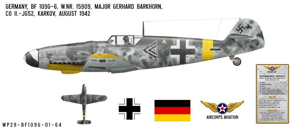 BF 109G-6 Messerschmitt Decorative Military Aircraft Profile