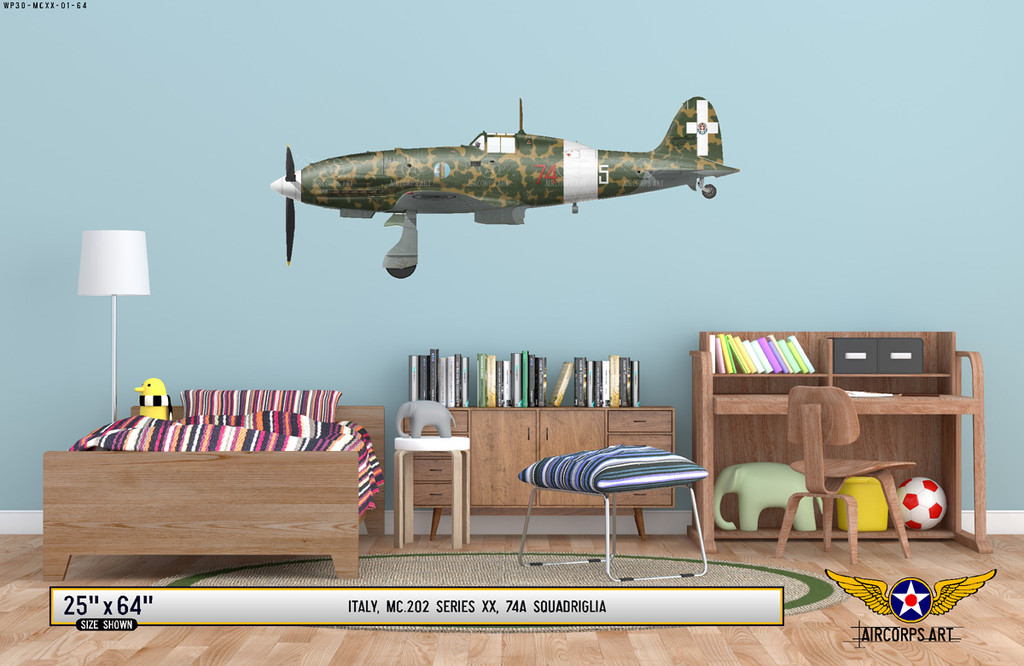 MC.202 Folgore Decorative Military Aircraft Profile on Kids Room Wall Mockup Display