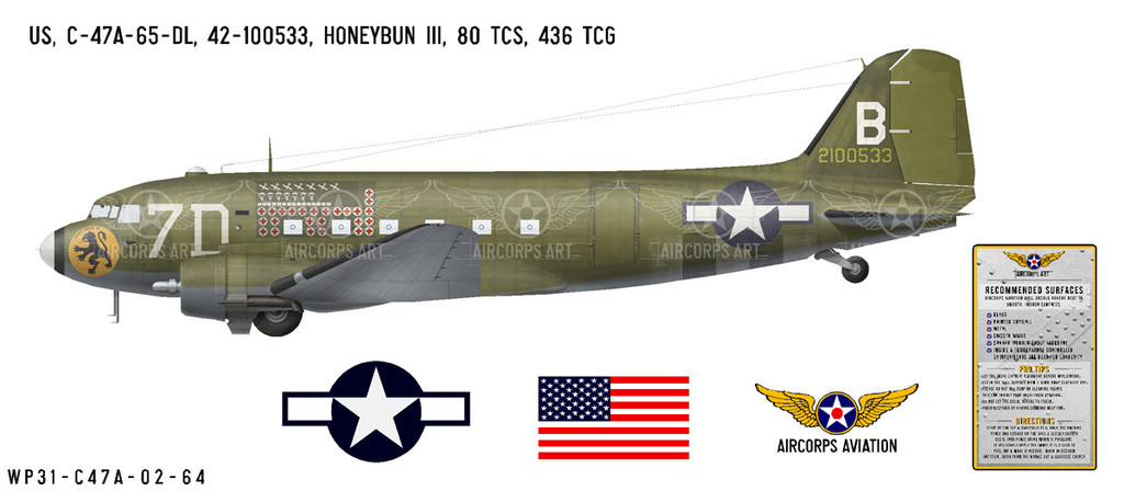 "C-47A Dakota ""Honeybun III"" Decorative Vinyl Decal"