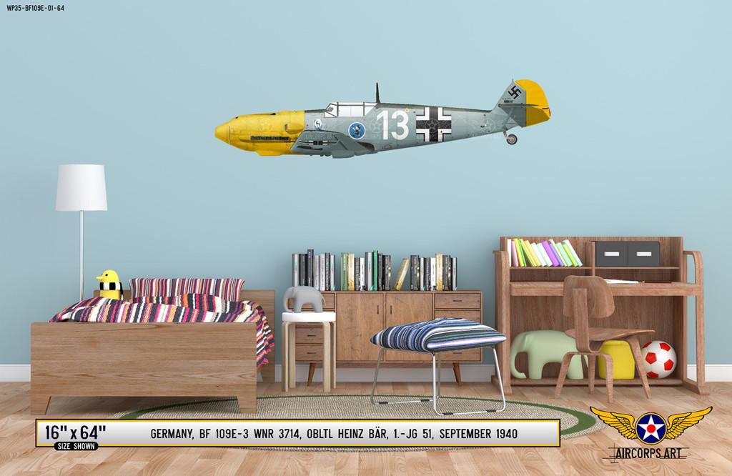 BF 109E-3 Messerschmitt Decorative Military Aircraft Profile on Kids Room Wall Mockup Display