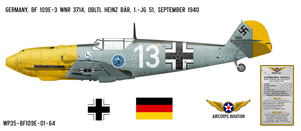 BF 109E-3 Messerschmitt Decorative Military Aircraft Profile