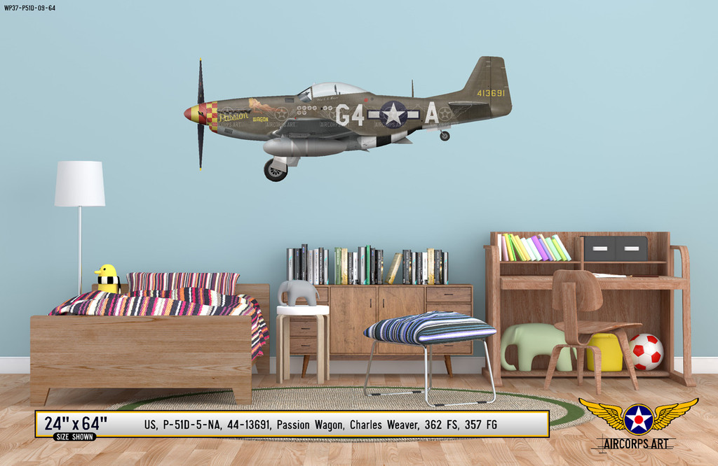 "P-51D Mustang ""Passion Wagon"" Decorative Military Aircraft Profile on Kids Room Wall Mockup Display"