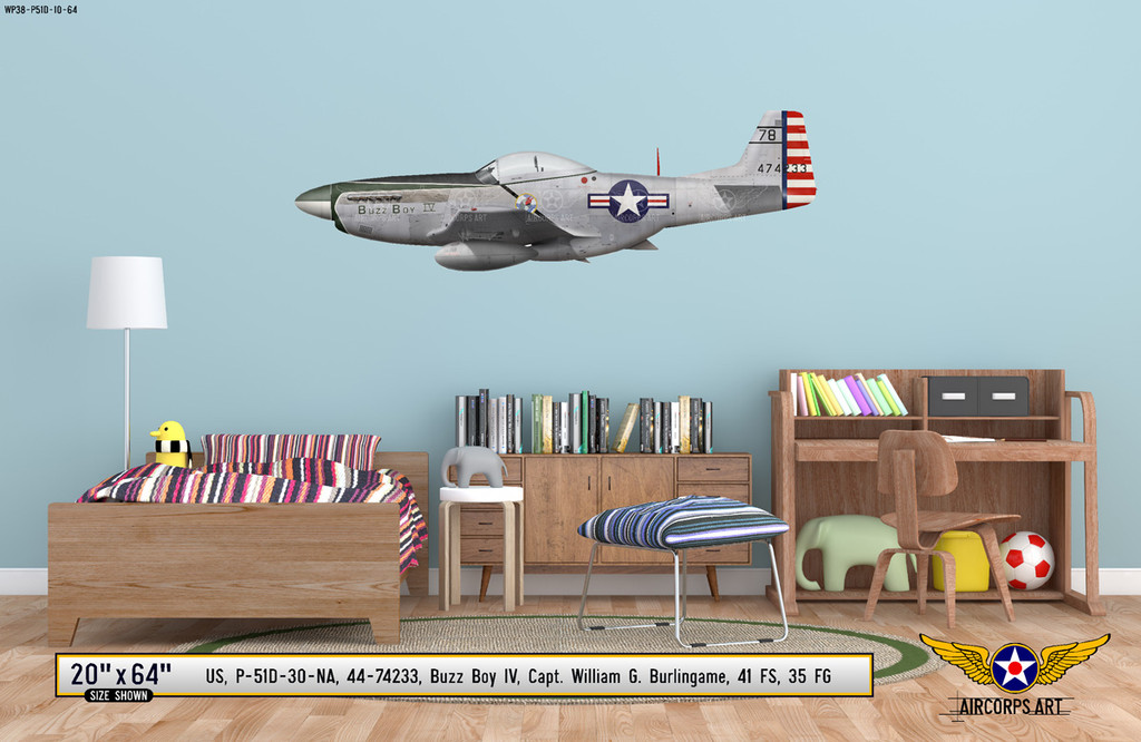 "P-51D Mustang ""Buzz Boy"" Decorative Military Aircraft Profile Print Wall Art Decal"