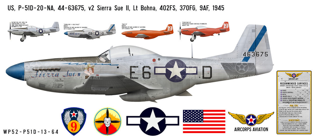 "P-51D Mustang ""Sierra Sue II"" Decorative Vinyl Decal"