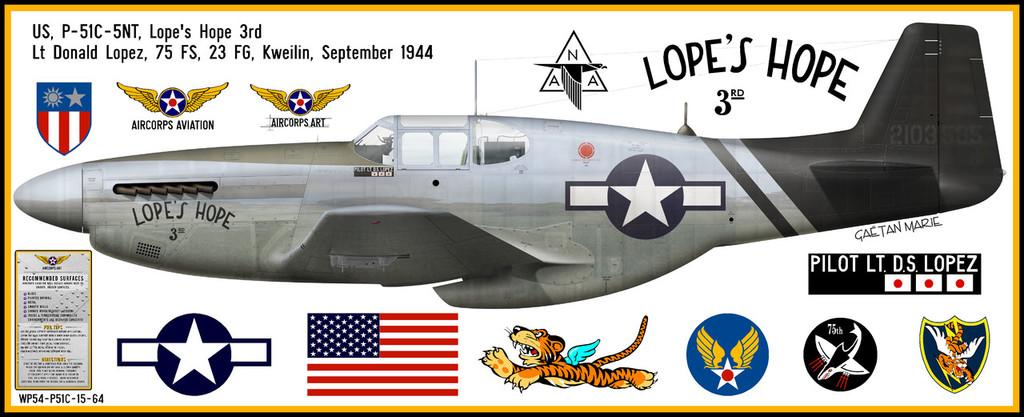 "P-51C Mustang ""Lopes Hope"" Decorative Military Aircraft Profile"