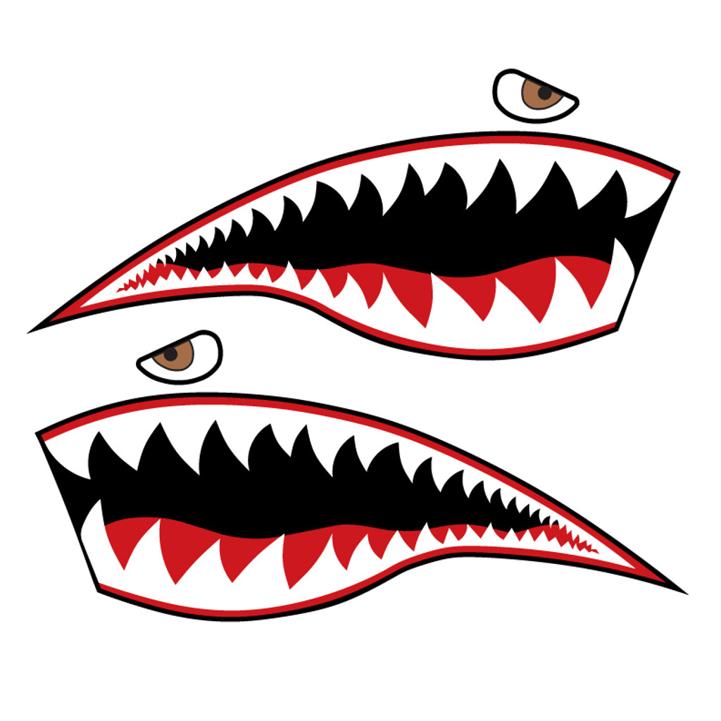 P-40 Warhawk Shark Mouth Nose Art Decal (Set of 2)