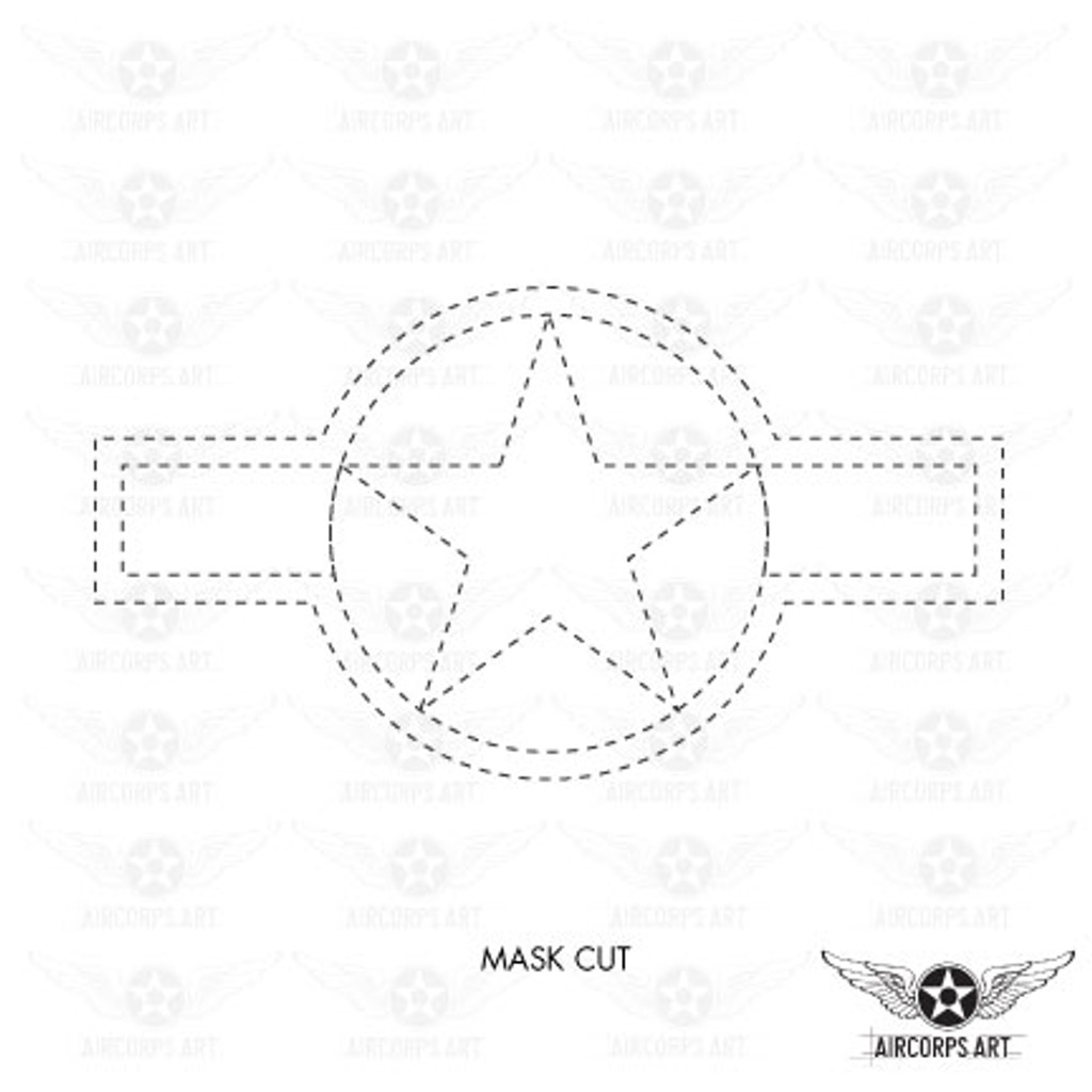 US Army Air Force Force National Star and Bars Insignia Military Aircraft Roundel - Spec. AN-I-9b Airplane Decal or Paint Mask