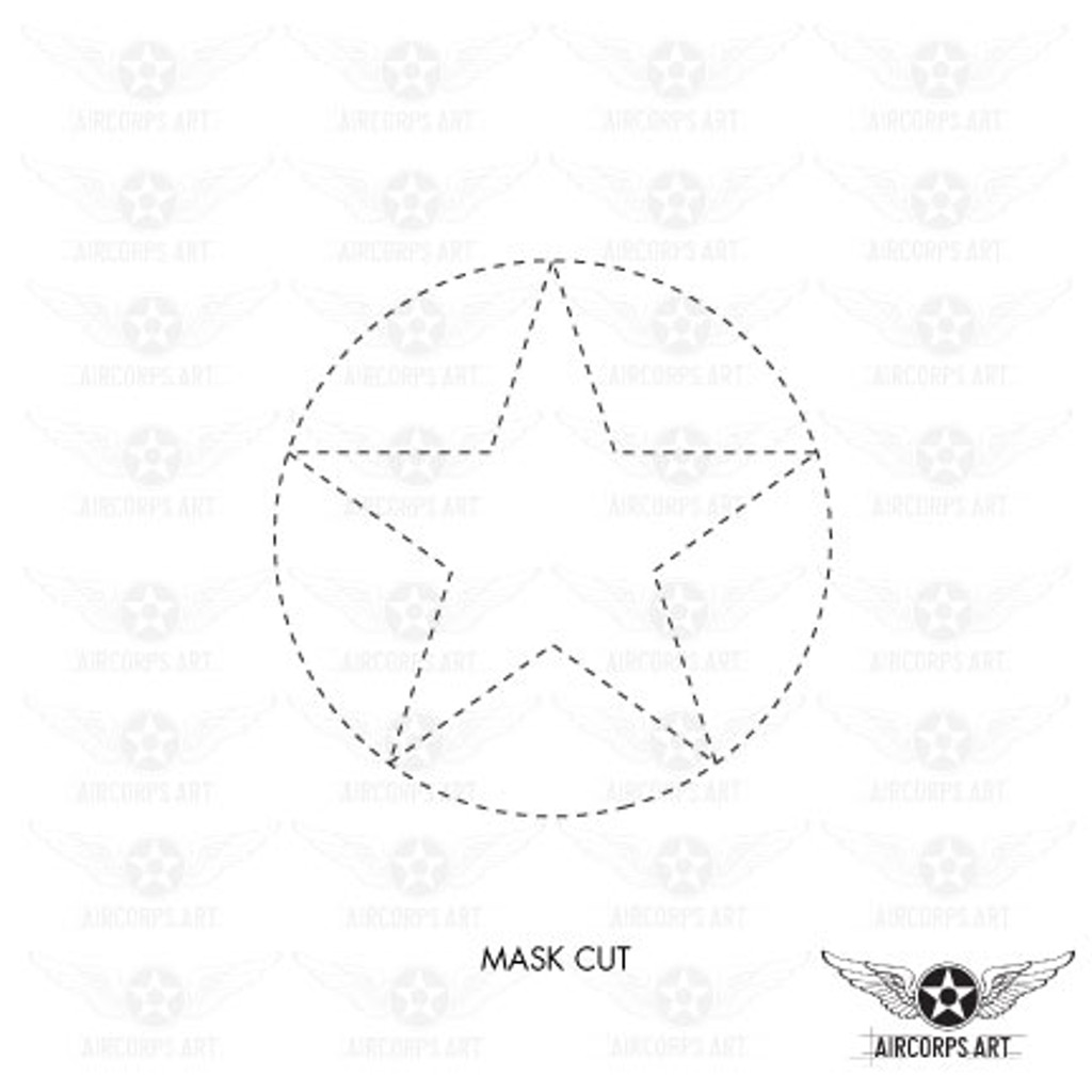 US Army Air Force National Star in Circle Insignia Military Aircraft Roundel  - Spec. No. 24102K (Amend #3) - Decal or Paint Mask