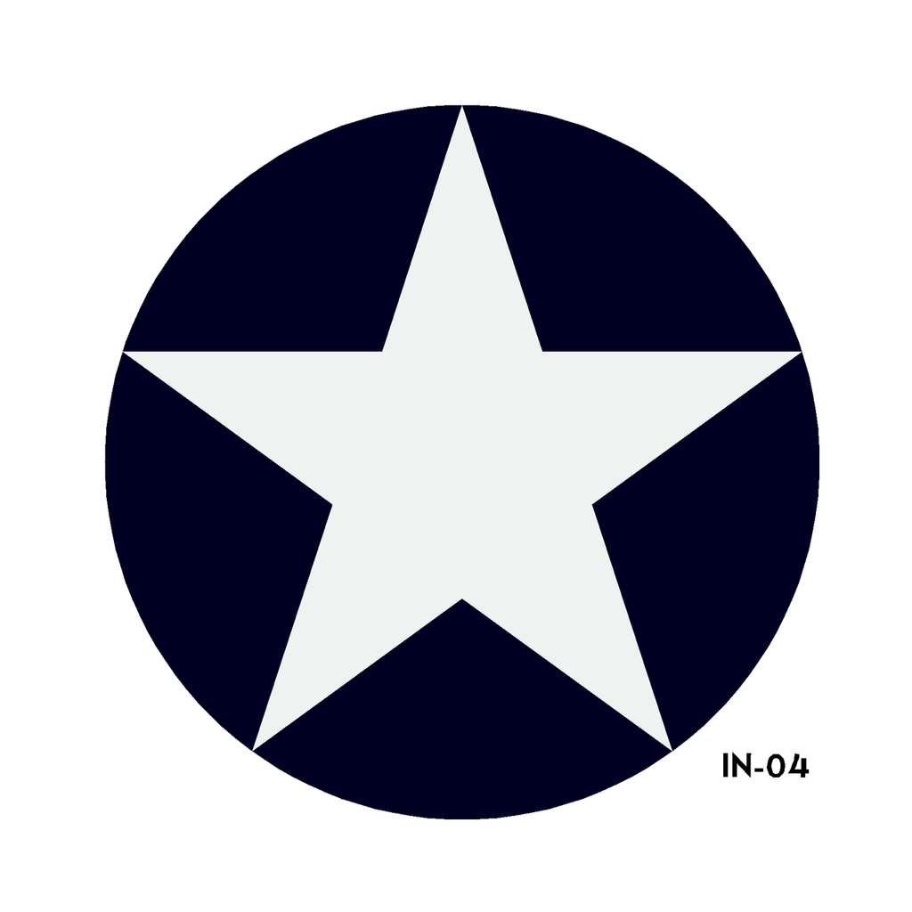 US Army Air Force National Star in Circle Insignia - Spec. No. 24102K (Amend #3) - Decal or Paint Mask