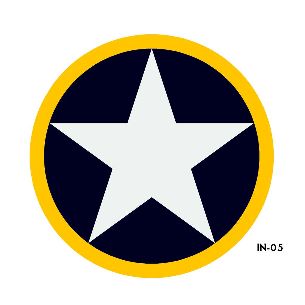 US Army Air Force National Star in Circle with Yellow Outline Insignia Military Aircraft Roundel - Spec. No. 24102-K (North Africa) - Decal or Paint Mask