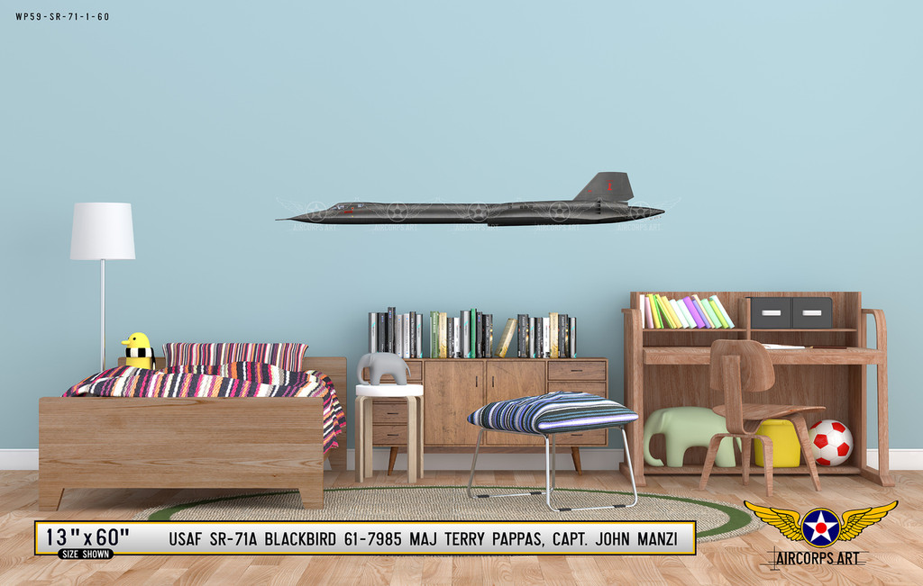 Lockheed SR-71A Blackbird Decorative Aircraft Profile on Kids Room Wall Mockup Display