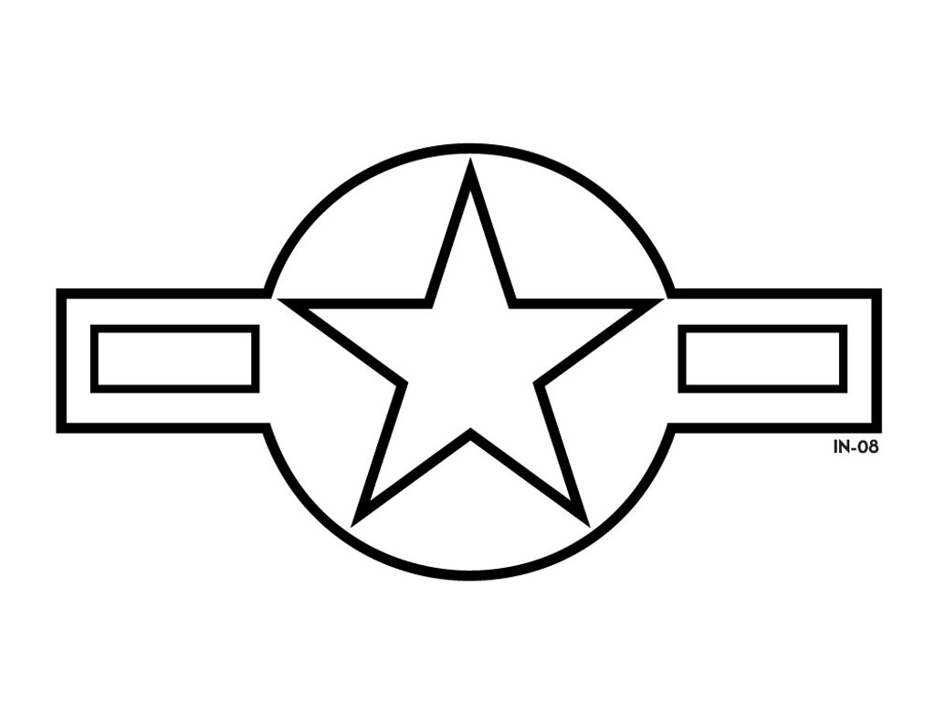 Lo-Vis USAF Star and Bars Roundel - Die Cut Decal or Paint Mask