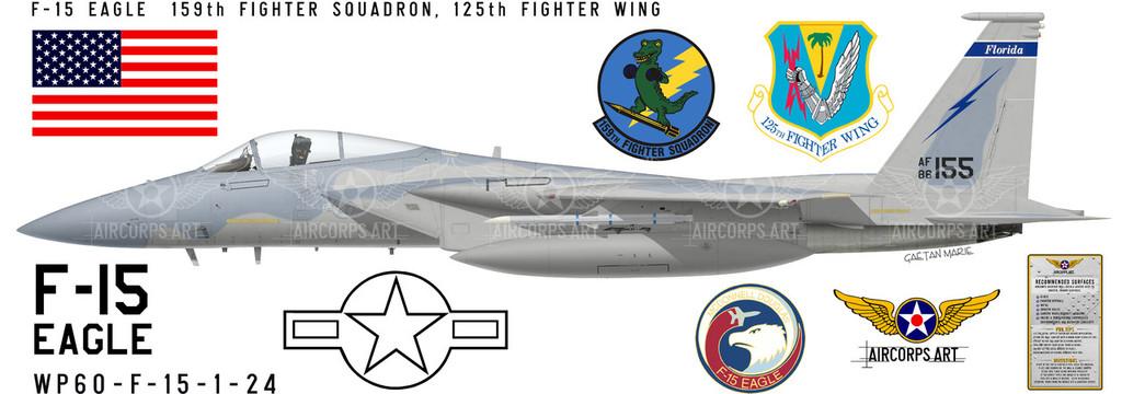 F-15 Eagle 159th Fighter Squadron -  Aircraft Profile Print Decal
