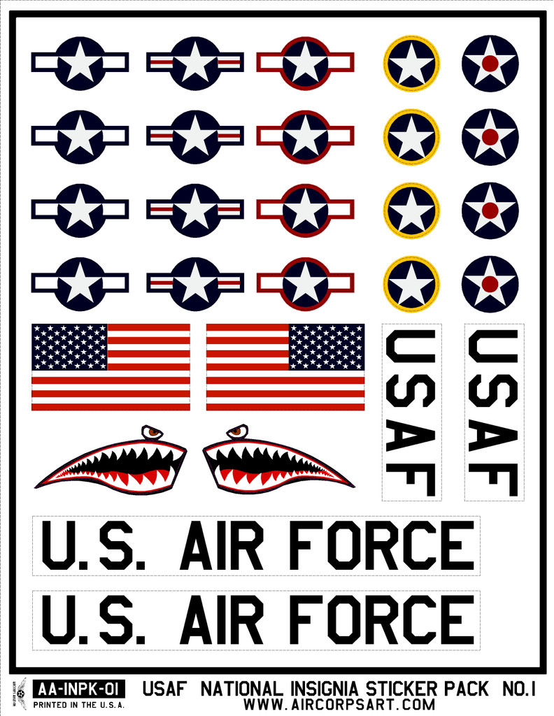USAF Insignia Sticker Pack with Shark Mouth