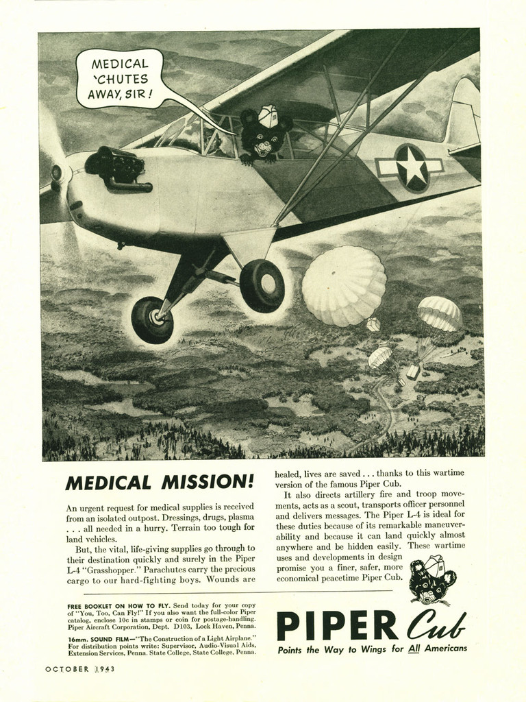 "Piper Cub ""Medical Mission!"" Vintage Military Aircraft Airplane Poster Mockup Art Display"