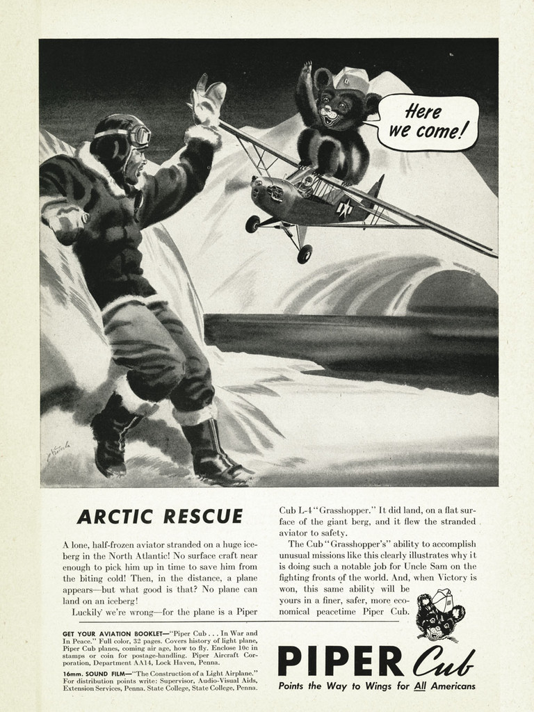 "Piper Cub ""Arctic Rescue!"" Vintage Military Aircraft Airplane Poster"