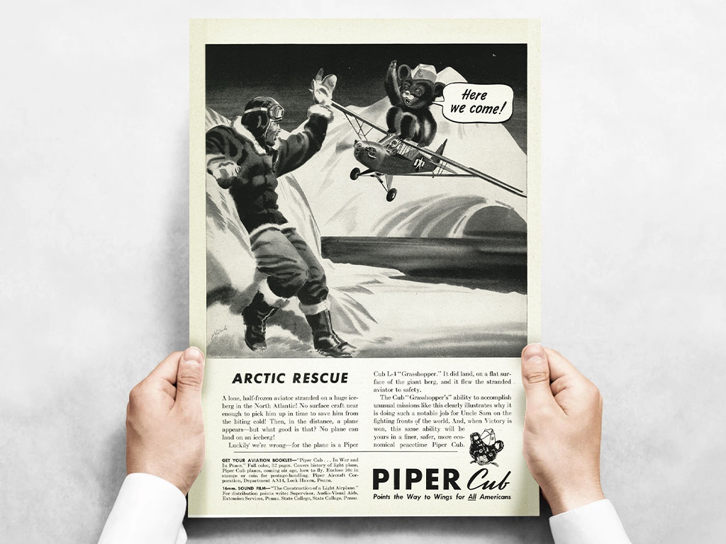 "Piper Cub ""Arctic Rescue!"" Vintage Military Aircraft Airplane Poster Mockup Art Display"