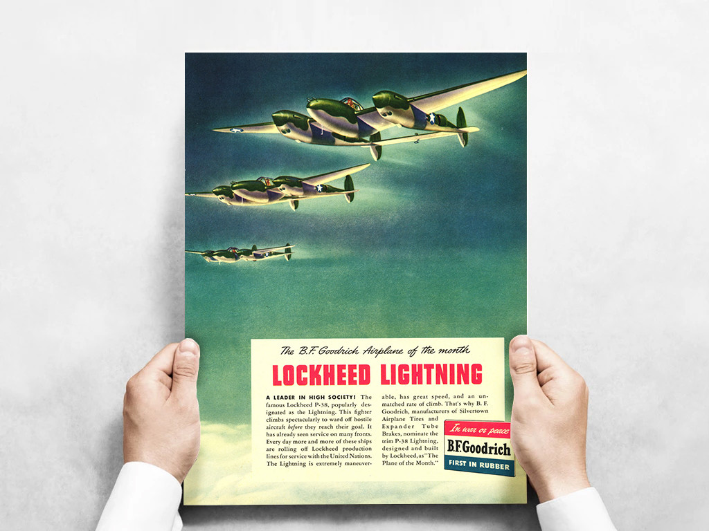 P-38 Lockheed Lightning Vintage B.F. Goodrich Poster Mockup Art Display