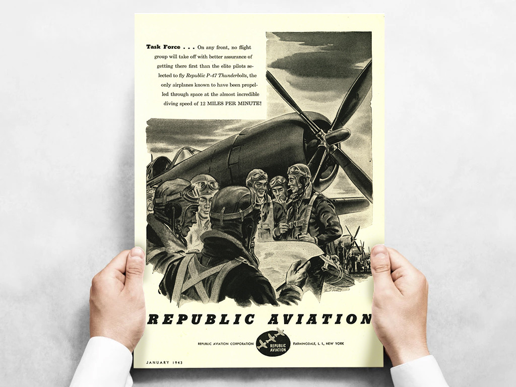 "Republic Aviation ""Task Force"" P-47 Thunderbolt Vintage Military Aircraft Airplane Poster Mockup Art Display"