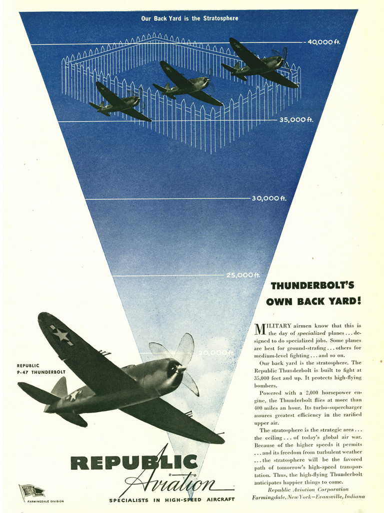 "Republic Aviation ""Thunderbolts Own Backyard!"" P-47 Thunderbolt Vintage Military Aircraft Airplane Poster"