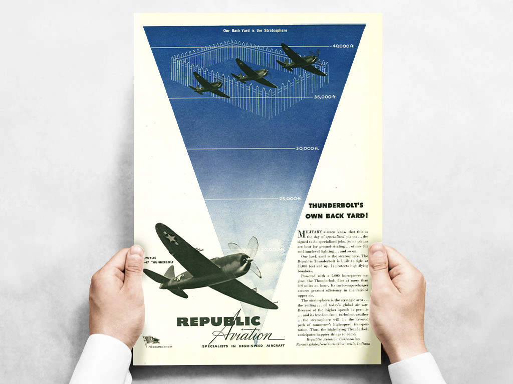 """Republic Aviation """"Thunderbolts Own Backyard!"""" P-47 Thunderbolt Vintage Military Aircraft Airplane Poster Ad Reproduction 24""""x18"""