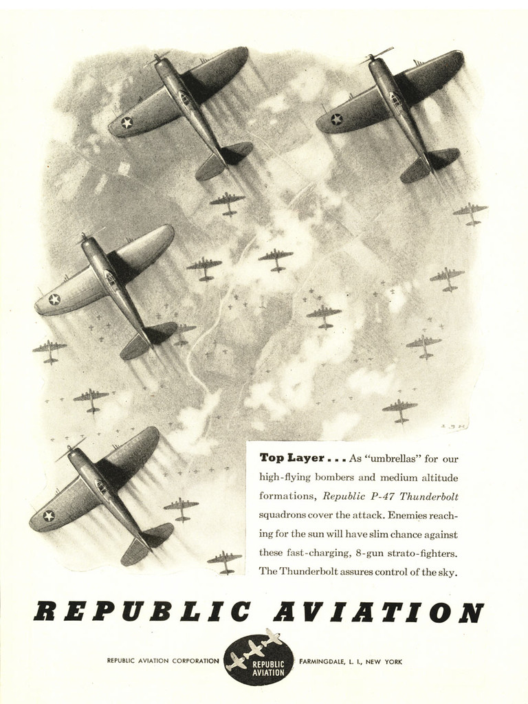 "Republic Aviation ""Top Layer"" P-47 Thunderbolt Vintage Military Aircraft Airplane  Poster"