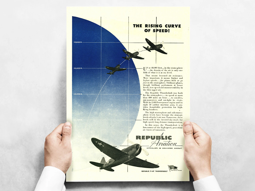 "Republic Aviation ""The Rising Curve of Speed"" P-47 Thunderbolt Vintage Military Aircraft Airplane Poster"