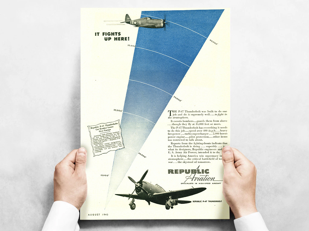 """Republic Aviation """"It Fights Up here!"""" P-47 Thunderbolt Vintage Poster Ad Reproduction 24""""x18"""