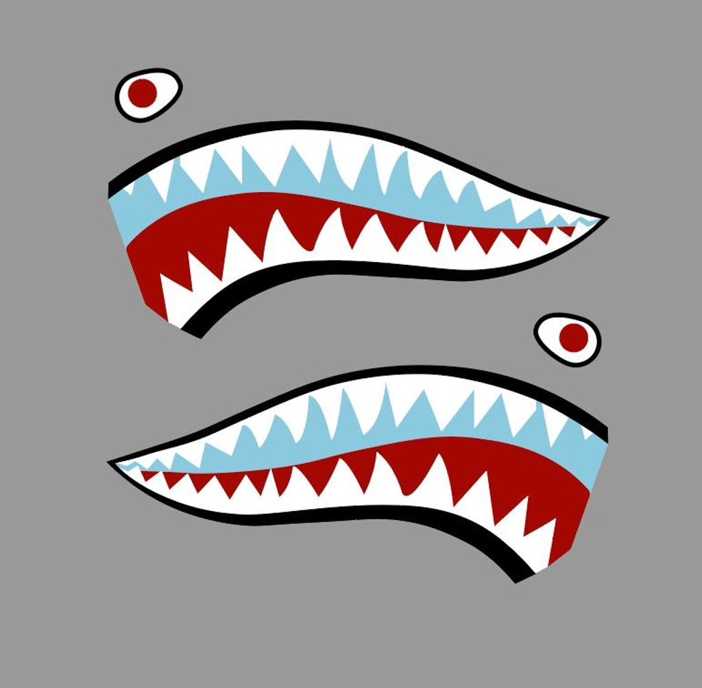 Flying Tigers P-40 Warhawk Shark Mouth Teeth Nose Art Military Aircraft Decal - Includes 2 Mirrored Decals (SM-04)