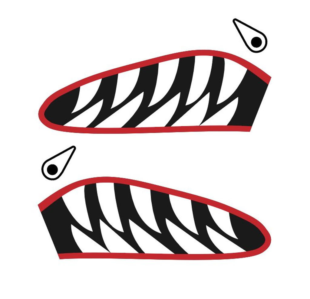 Flying Tigers P-40 Warhawk Shark Mouth Teeth Nose Art Military Aircraft Decal - Includes 2 Mirrored Decals (SM-06)