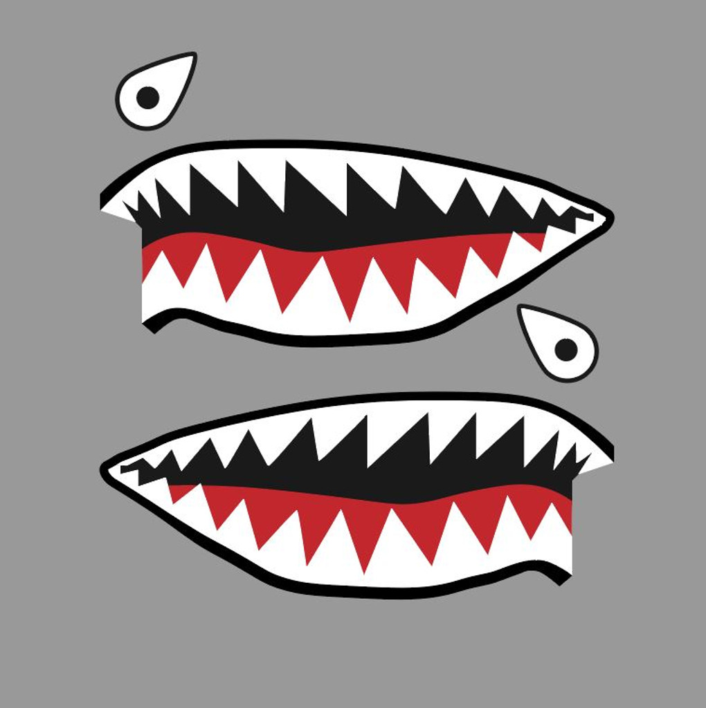 Flying Tigers P-40 Warhawk Shark Mouth Teeth Nose Military Aircraft Art Decal - Includes 2 Mirrored Decals (SM-07)