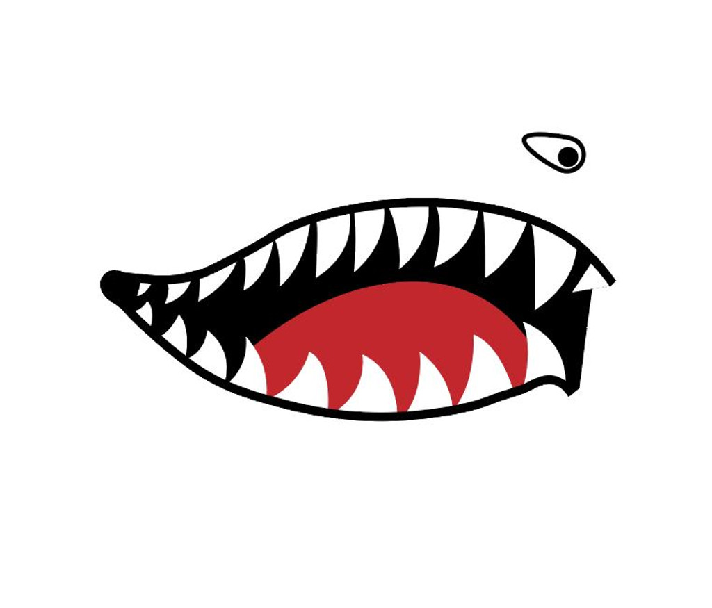 Shark Mouth Teeth Nose Art Military Aircraft Decal SM-08