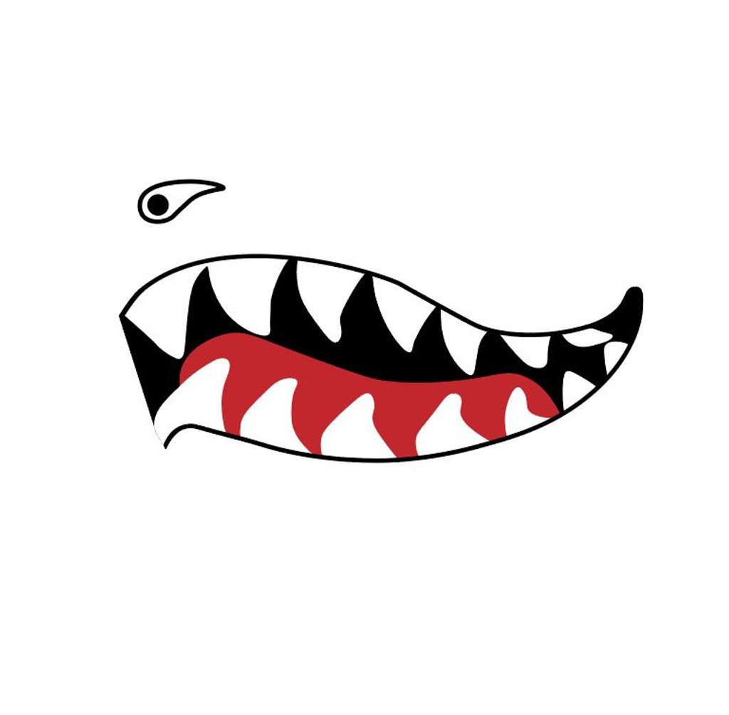 Shark Mouth Teeth Nose Art Military Aircraft Decal SM-09