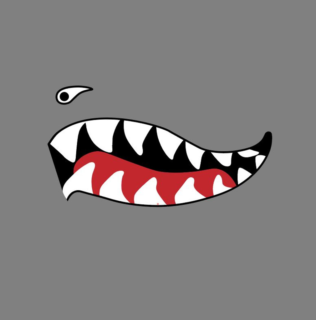 Flying Tigers P-40 Warhawk Shark Mouth Teeth Military Aircraft Nose Art Decal - Includes 2 Mirrored Decals (SM-09)