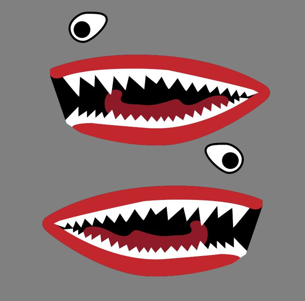 Flying Tigers P-40 Warhawk Shark Mouth Teeth Military Aircraft Nose Art Decal - Includes 2 Mirrored Decals (SM-10)