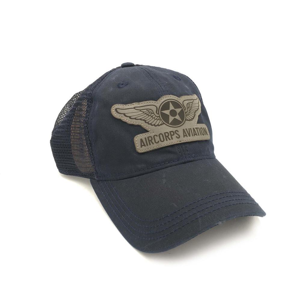 Waxed Cotton Trucker Cap Navy Blue