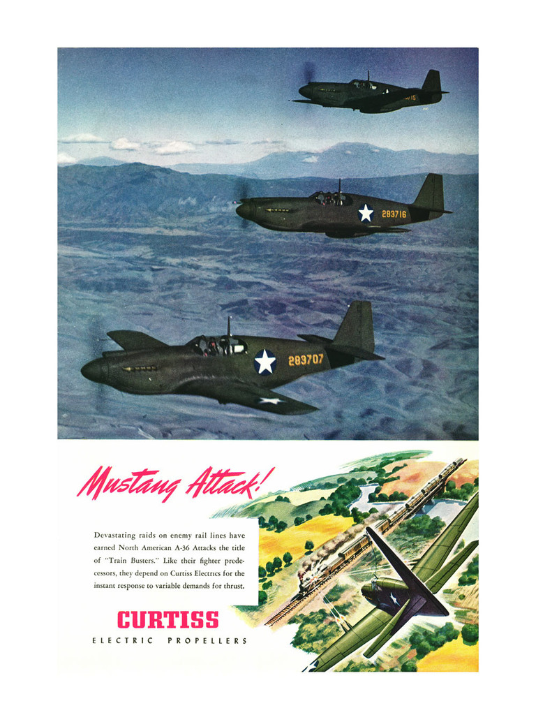 """P-51 """"Mustang Attack"""" Vintage Military Poster"""