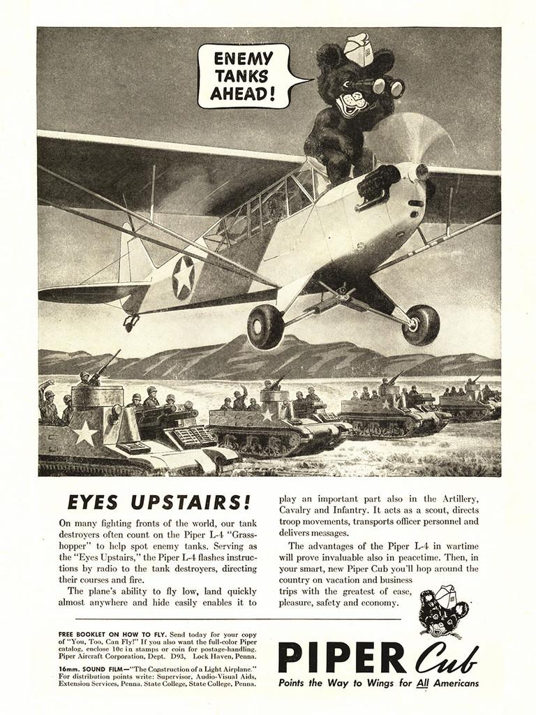 "Piper Cub ""Enemy Tanks Ahead!"" Vintage Poster"