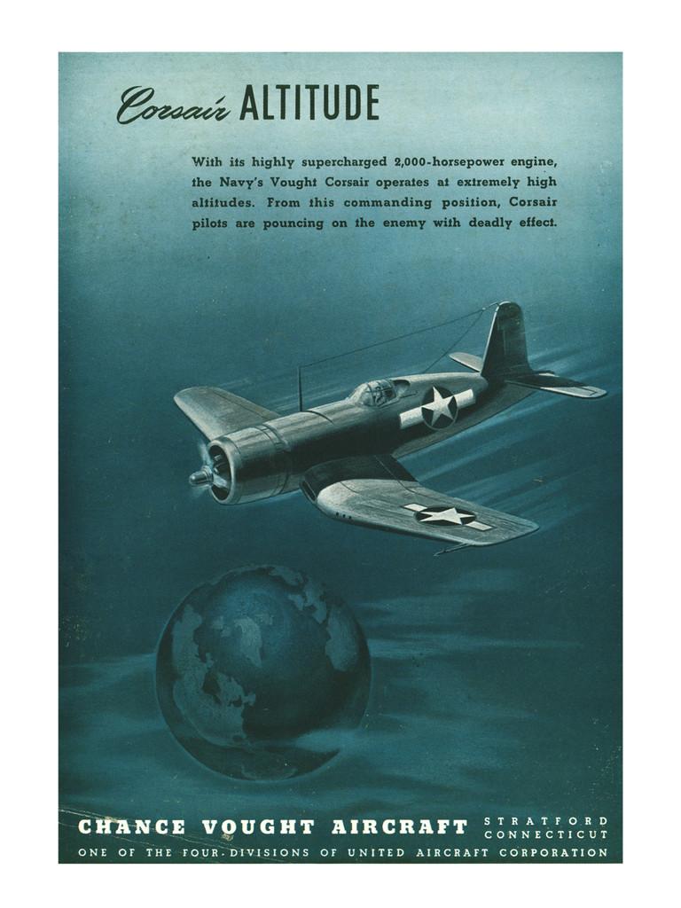 "Corsair ""Altitude"" Vintage Military Aircraft Airplane Poster"
