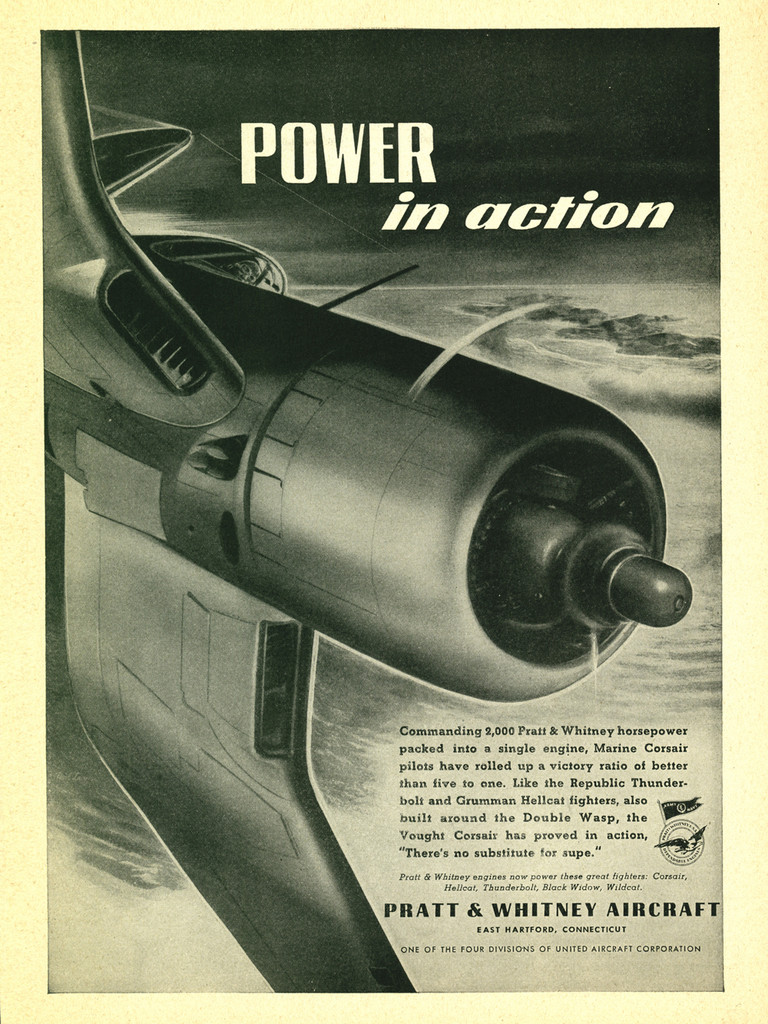 """Corsair """"Power in Action"""" Vintage Military Pratt & Whitney Aircraft Airplane Poster"""