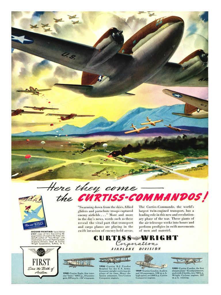 "Curtiss Comando ""Here they come"" Vintage Aircraft Poster"