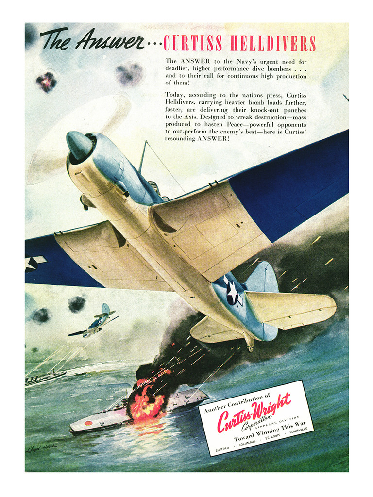 """Curtiss HellDiver """"The Answer"""" Vintage Military Aircraft Airplane Poster Ad Reproduction 24""""x18"""