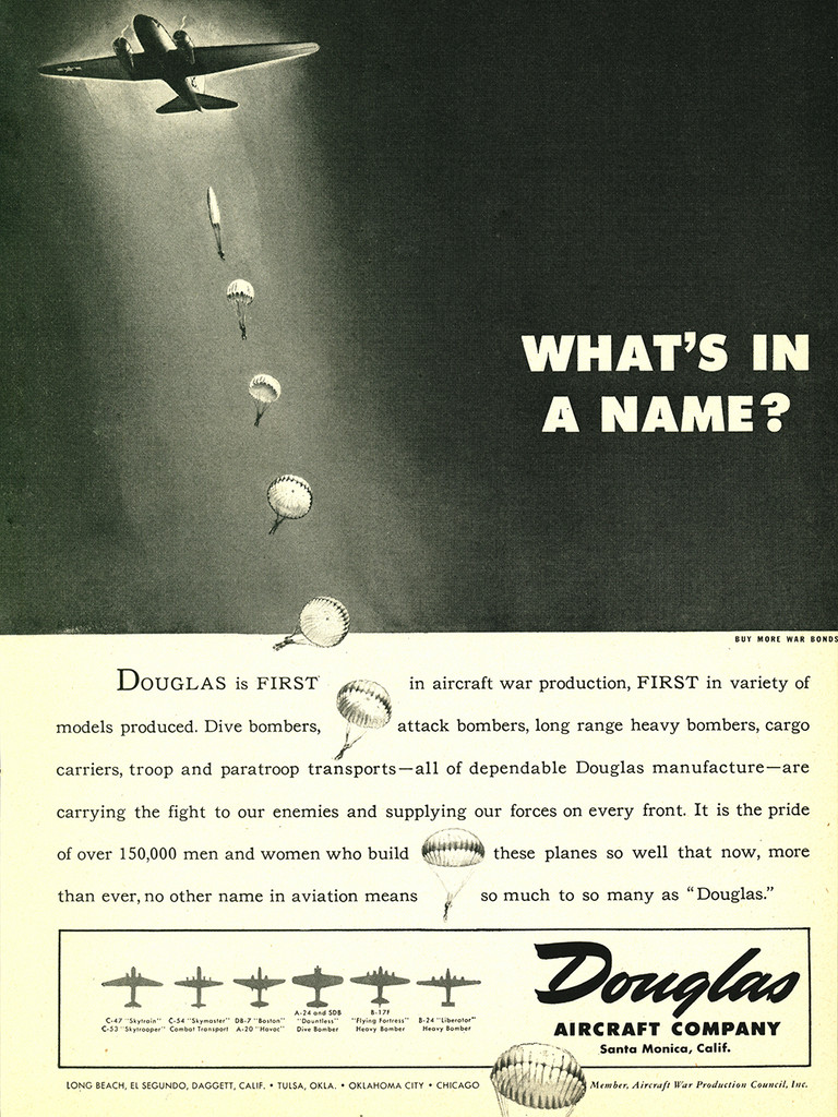 "Douglas ""What's in a Name?"" Military Aircraft Airplane Poster Ad Reproduction 24""x18"