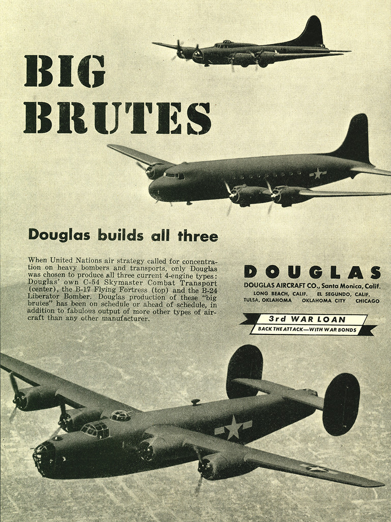 "Douglas ""Big Brutes"" Military Aircraft Airplane Poster Ad Reproduction 24""x18"