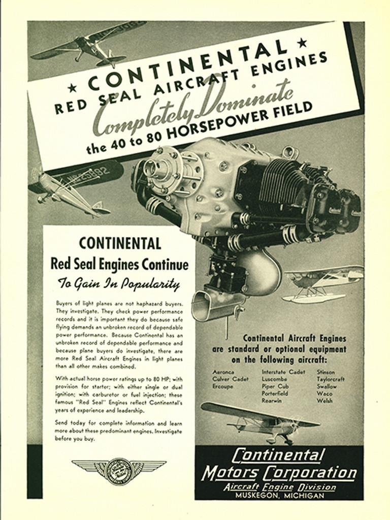 Continental Motors Engine Logo Aircraft Decal//Sticker!