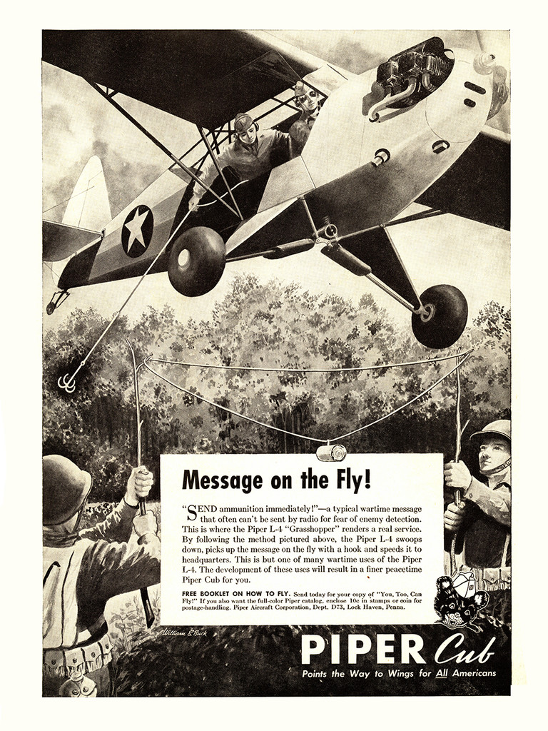 """Piper Cub """"Message on the Fly"""" Vintage Poster"""