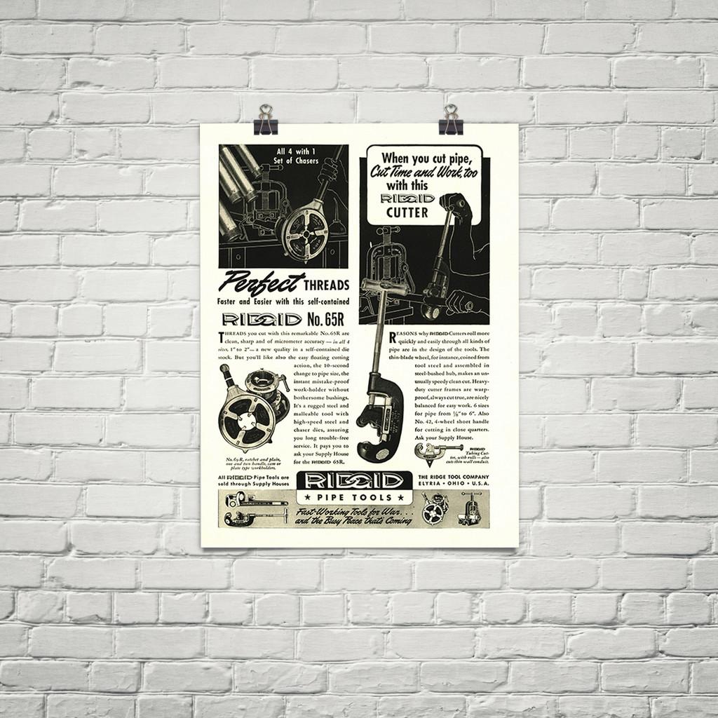 "Ridged ""Pipe Tools"" Vintage Military Tool Poster Mockup Art Display"