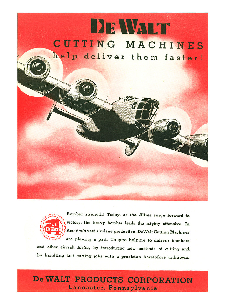 "DeWalt Cutting Machines ""Bomber Strength!"" Vintage Poster"
